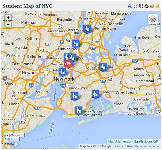 Student Map of NYC for the first Mapping the Futures of Higher Education Spring Course Maps points of nine campuses where enrolled GC doctoral and masters students will teach across CUNY